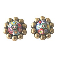 Vintage Venetian Millefiori Glass Earrings