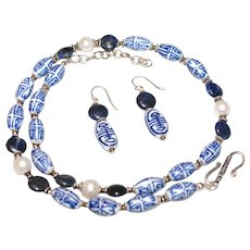 Vintage Chinese Blue and White Chinese Porcelain Necklace and Earring Set