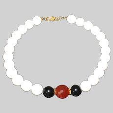White Shell Designer Necklace with Carnelian and Black Obsidian