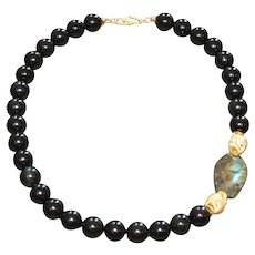 Black Obsidian Statement Necklace with Labradorite and Brushed Vermeil