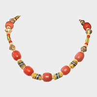 Antique African Trade Beads, Bone and Old Brass Necklace