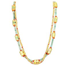 African Trade Bead and Green Turquoise Double Strand Necklace