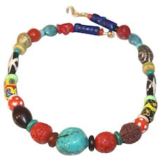 Antique and Vintage African Trade Bead Necklace with Val Verde Turquoise
