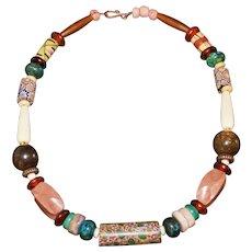 Antique African Millefiori Trade Bead Necklace