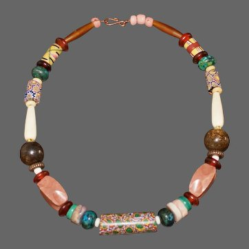Antique African Millefiori Trade Bead Necklace