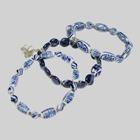 Trio of Vintage Chinese  Blue and White Porcelain and Sodalite Bracelets
