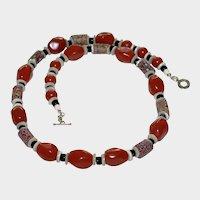 Antique Venetian Millefiori Trade Bead and Red Jasper Necklace