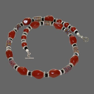 Antique Venetian Millefiori Trade Bead and Red Jasper Necklace