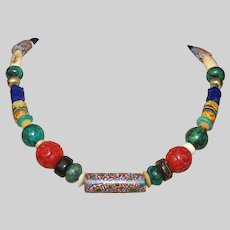 Antique African Trade Bead Necklace with Cinnabar, Chrysocolla Jasper, and Bone