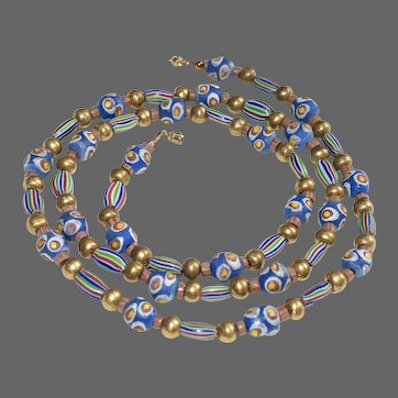 Blue African Krobo Bead Necklace with Antique Venetian Trade Beads