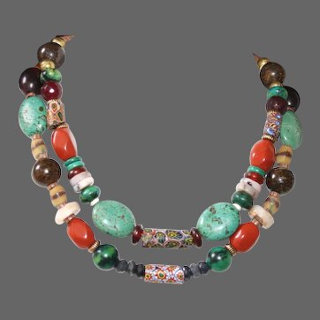 Antique African Trade Bead Necklace with Turquoise,  Red Jasper, Bronzite and  Chrysocolla Jasper