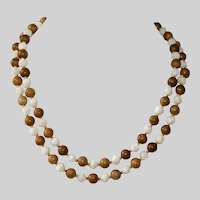 Carved Bone and Sandalwood Necklace