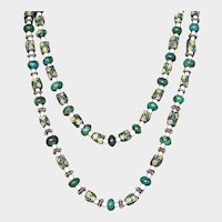 African Hand Painted Krobo Beads and Chrysocolla Two Strand Necklace