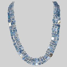 Light Blue Kyanite Three Strand Necklace