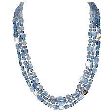 Light Blue Kyanite Three Strand Necklace