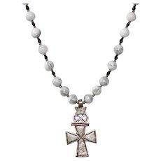 Polished Howlite Necklace with Coptic Cross Pendant