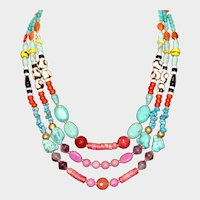 African Style Mixed Bead Statement Necklace