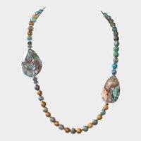 Ocean Agate, Sandalwood and Labradorite Necklace