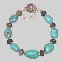 Dragon Skin Turquoise and Labradorite Bracelet with Bali Silver