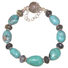 Dragon Skin Turquoise and Labradorite Bracelet with Bali Silver