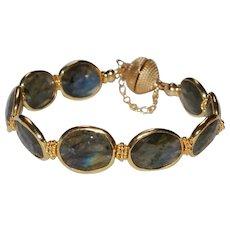 Labradorite and Bali Vermeil Bracelet