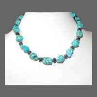 Aqua Blue Chalk Turquoise Nuggets and Labradorite Necklace