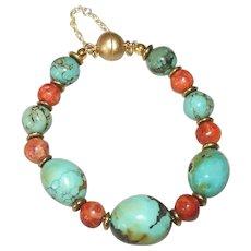 Natural Turquoise and Apple Sponge Coral Bracelet