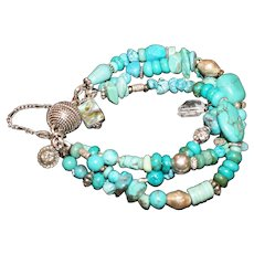 Mixed Turquoise and Silver 3 Strand Bracelet.