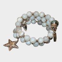 Blue Lace Agate Memory Wire Bracelet