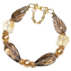 Smokey Quartz, Citrine and Faux  Pearl Bracelet