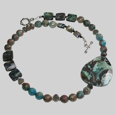 Ocean Agate and Blue-Green Abalone Casual Necklace