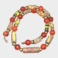 Antique Millefiori Trade Bead, Brass and Red Agate Necklace