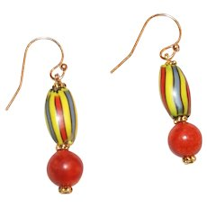 Chevron Trade Bead and Sponge Coral Earrings