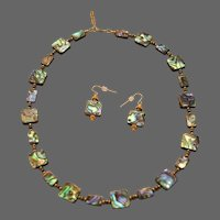 Blue-Green Abalone (Paua Shell) Necklace and Earrings