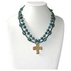 Dramatic Double Strand Chrysocolla Necklace with Hammered Brass Cross