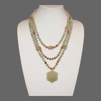 Shades of Green Necklace with Carved Jade Pendant