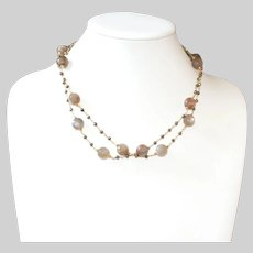 Gray Moonstone  and Titanium Pyrite Layering Necklace
