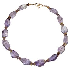 Ametrine Nugget Statement Necklace with Amethyst and Vermeil