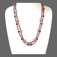 Burgundy Red Vintage Glass Double Strand Necklace