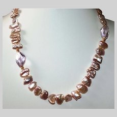 Biwa Pearl Necklace with Amethyst Nuggets