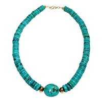 Chinese Turquoise Graduated Discs  Necklace with Vermeil Accents