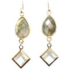 Labradorite and Swarovski Crystal DangleEarrings