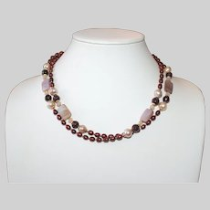Long Burgundy Pearl Necklace with Mother of Pearl and Garnet