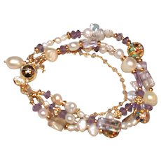 Four Strand Pearl Bracelet with Amethyst and Cloisonné