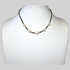Black Spinel Short Necklace with 5 Cultured Baroque Pearls