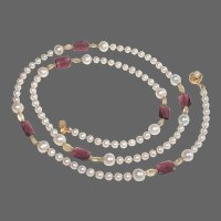 Long Freshwater Pearl Necklace with Zambian Amethyst and Citrine Stations.