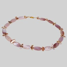 Pink Mother of Pearl and Biwa Pearl Necklace