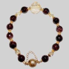 Garnet and Citrine Gemstone Bracelet
