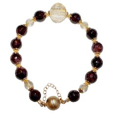 Garnet and Citrine Gemstone Bracelet