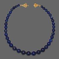 Classic Lapis Lazuli Graduated Bead Necklace